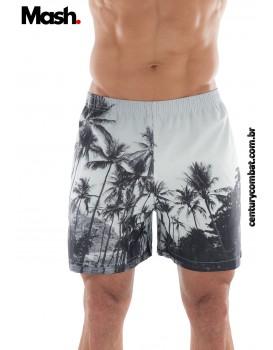 Shorts Mash Estampado Paisagens Branco