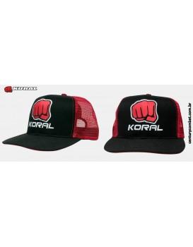 Boné Koral Trucker Helmet Preto Vermelho