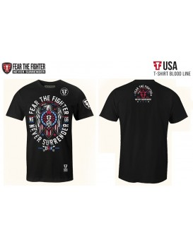 Camiseta Fear The Fighter Usa Preta