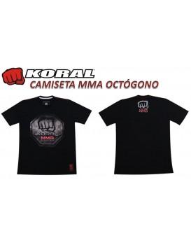 Camiseta Koral MMA Octogono Preta Vermelha