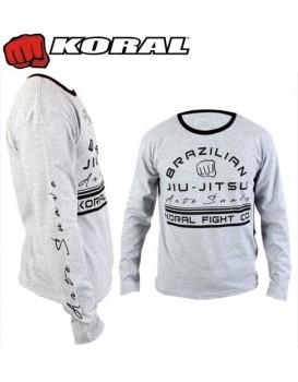 Camiseta Koral Arte Suave 2 Cinza Manga Longa