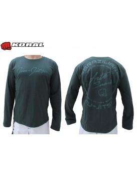 Camiseta Koral Arte Suave Verde Manga Longa