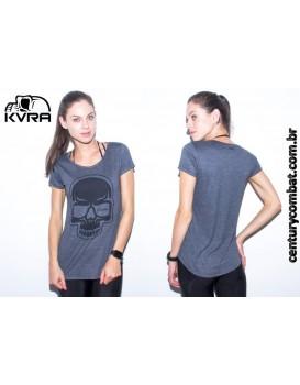 Camiseta Kvra Feminina Full Skull Cinza Preta