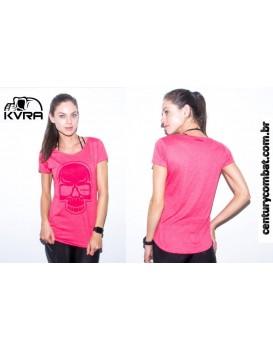 Camiseta Kvra Feminina Full Skull Rosa