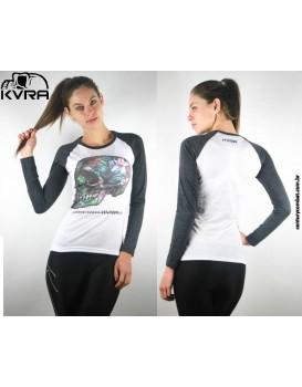 Camiseta KVRA Feminina Raglan Bloom Branca Manga Longa