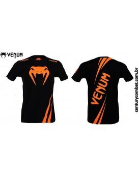 Camiseta Venum Challenger Preta Laranja Neon