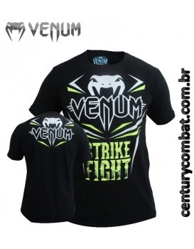 Camiseta Venum Strike Fight Preta Verde Neon