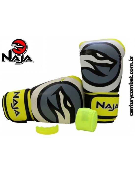 440ae2811 kit luva naja boxe muay thai colors amarelo fluor