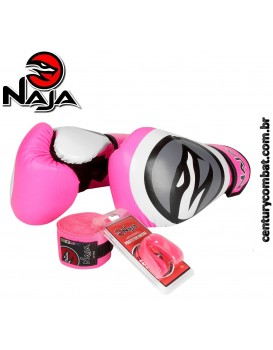 Kit Luva Naja Boxe Muay Thai Colors Rosa Fluor