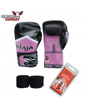 Kit Luva Boxe Muay Thai Naja New Extreme Rosa