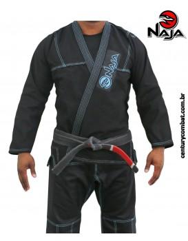 Kimono Jiu Jitsu Naja Linha Colors Preto Azul