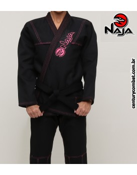 Kimono Jiu Jitsu Naja Linha Colors Preto Rosa