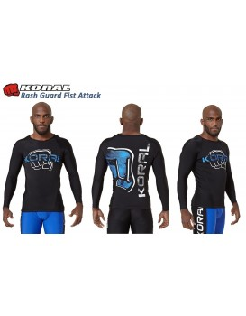 Rash Guard Koral Fist Attack Preto Azul Manga Longa