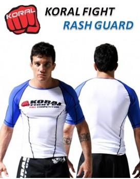 Rash Guard Koral Lycra Pro Competition Azul Manga Curta