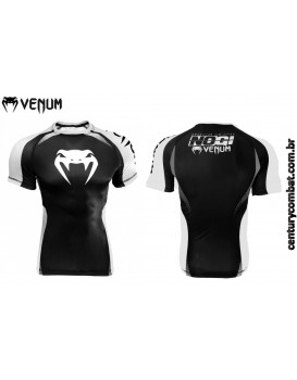Rash Guard Venum Lycra No Gi Approved Branca Preta