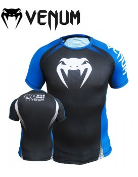 Rash Guard Venum Lycra No Gi Approved Preta Azul