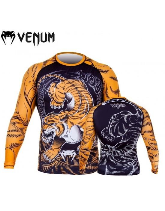 Rash Guard Lycra Venum Tiger Amarela Preta