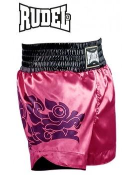 Short Muay Thai Rudel Cetim Dragon Pink