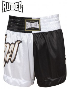 Short Muay Thai Rudel Lumpi Preto Branco