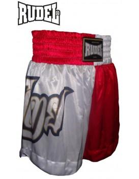 Short Muay Thai Rudel Lumpi Vermelho Branco