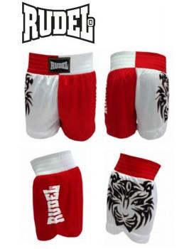 Short Muay Thai Rudel Tigre Vermelho Branco