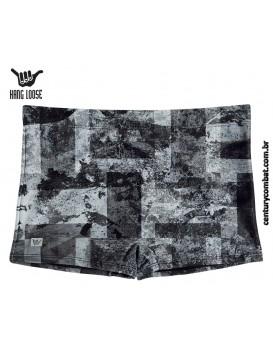 Sunga Boxer Estampada Geometrica Hang Loose Preto